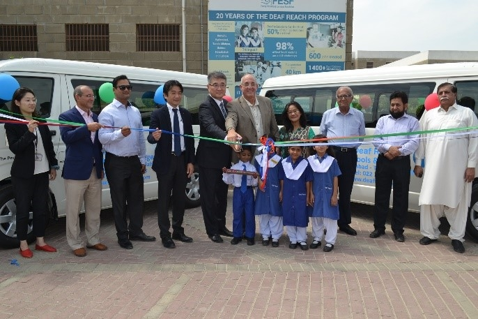 On October 15, 2018, the Handover Ceremony for &#39;&#39;The Project for the Improvement of Special Education School for Deaf in Rashidabad&#39;&#39;; was held in the presence of His Excellency, Consul-General of Japan in Karachi, Mr. Toshikazu Isomura and Indus Motor Company (IMC) Senior Executive Coordinator Mr. Kenji Sotowa<br />